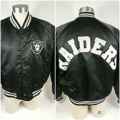 Vtg Chalk Line Los Angeles Oakland Raiders Satin Spell Out Jacket Size  USA