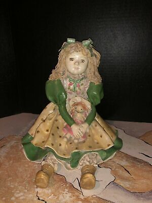Very Old Solid Paper Mache/Bisque Little Girl Doll Holding A Doll. Fragile