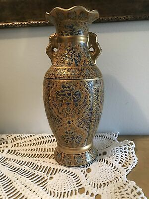 Antique Chinese Gilded Vase With Scallop Top With Cobalt Blue Lotus Hand Painted