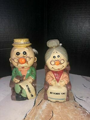 Mid Century Chalkware Banks With Grandma & Grandpa's Retirement Fund Motif