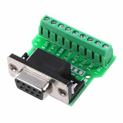 DB9 RS232 Serial to Terminal Female Adapter Connector Breakout Board Black+ Y7N6