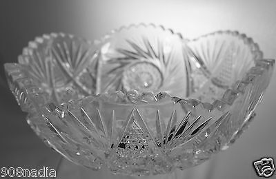 Vintage Cut Glass Or Crystal Bowl/Vase Pinwheel Stars Scalloped Edges