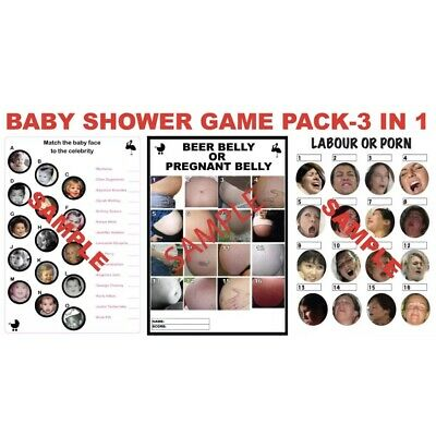 3 Baby Shower Games: Labour or Porn, Pregnant or Beer Belly & Celebrity Match