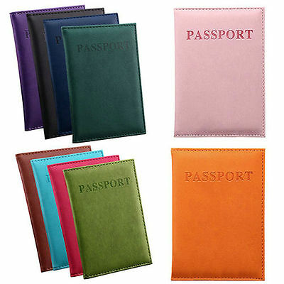 Simple PU Leather Passport Cover Protector ID Name Card Case Pouch Travel Wallet