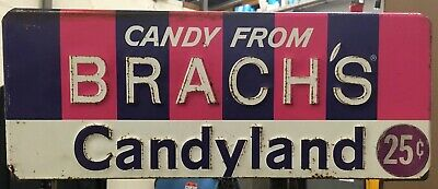 Candy From Brach's Candyland Metal Sign With Original Rack 25 Made in USA