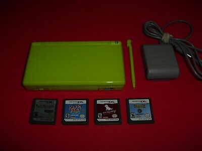 Lime Green Nintendo DS Lite system w/ charger & 4 games! Rune Factory Nintendogs