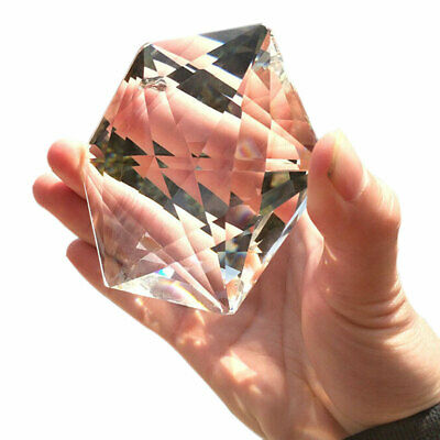 100MM Clear Glass Crystal Large Hexagram Prisms Pendant Suncatcher Fashion US