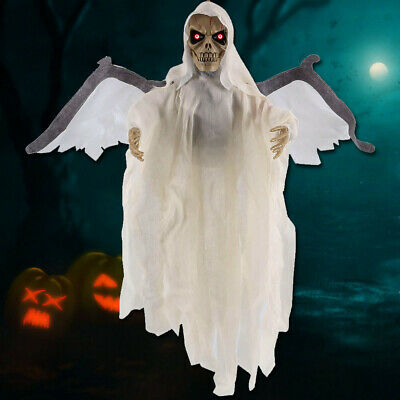 Halloween Decorations Hanging Ghost Skull Sound Glowing Effect Skeleton Props US