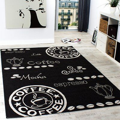 Black and White Kitchen Rug Flat Weave Carpet Easy Care Mat Small Extra Large XL