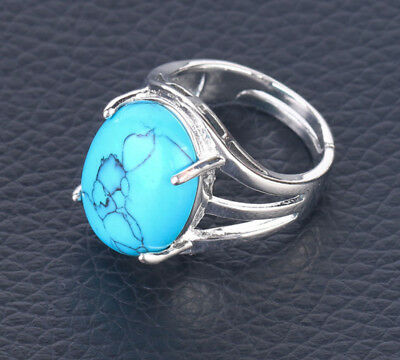 R155F Ring Silver Plated with Turquoise Blue Oval Adjustable Size