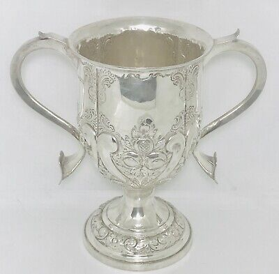 Antique King Edward VII English sterling silver trophy cup, Sheffield ,c1902