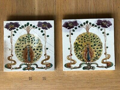 Pair of Art Nouveau Antique Tiles with Peacock Design