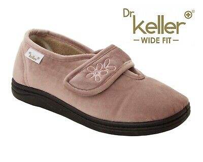 Ladies Dr Keller Pink Diabetic Orthopaedic Wide Fit Adjustable Slippers Size 4-8