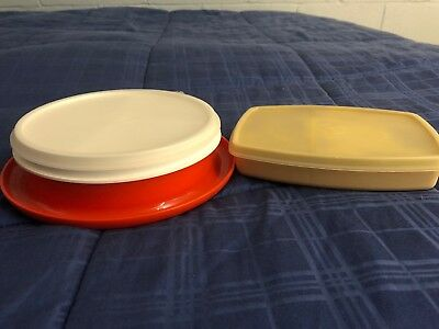 Vintage Tupperware Kids Divided Bowl & Side by Side Lunch Container Orange/Cream