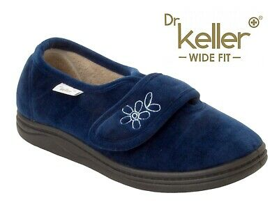 Ladies Dr Keller Navy Diabetic Orthopaedic Wide Fit Adjustable Slippers Size 4-8