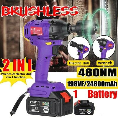 198VF 480NM 24800mAh Cordless Electric Impact Wrench Brushless Torque Driver