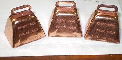 """Bright Copper-Coated Cow Bell  1.5"""" Lot of 3"""