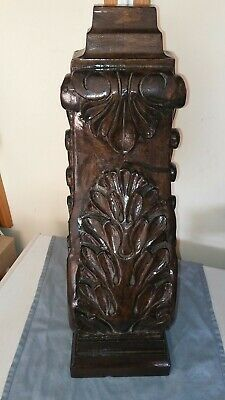 "Solid Wood Hand Carved Corbel 22"" x 8"" x 7"" Dark Wood Tone Color"