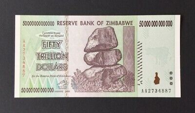 One 50 Trillion Dollar Zimbabwe Note. UNC