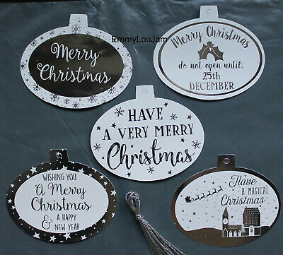 20 / 40 Silver Foil Gift Tags / Christmas Labels with String - NEW