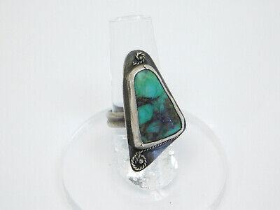 Antique Native American Silver Ring Navajo Turquoise Size:7.25 Very Unusual