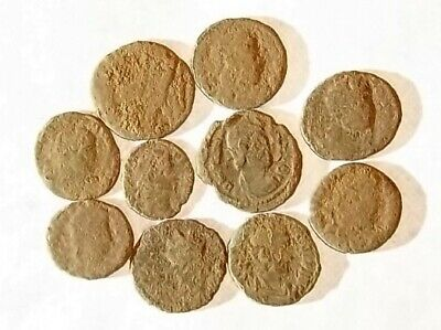 10 ANCIENT ROMAN COINS AE3 - Uncleaned and As Found! - Unique Lot 21744