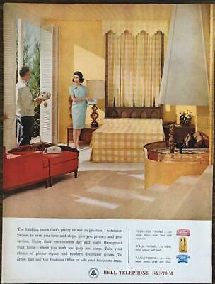 1962 Bell Telephone System Print Ad Decor Colors Princess Table Wall Phones