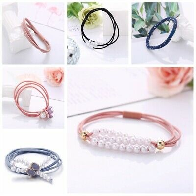 Women Rope Pearl Cute Flower Hair Ties Elastic Hair Band Accessories Scrunchie