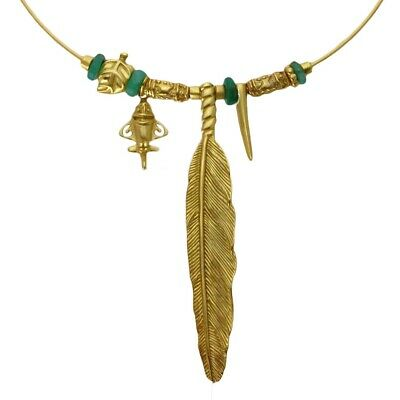 ACROSS THE PUDDLE 24k GP Ancient Aliens Aircraft/Golden Jet Charm Omega Necklace