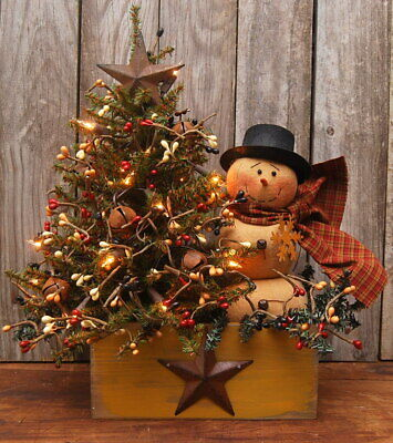 Handmade Primitive Winter Snowman Doll Lighted Tree Wood Box Folk Art