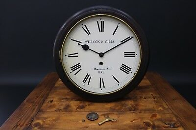 Antique Wall Clock Willcox & Gibbs Sewing Machine Co Moorgate St London 12""