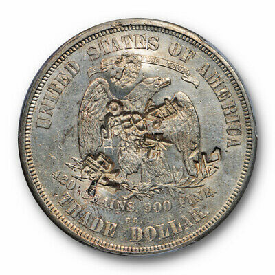 1874 CC T$1 Trade Dollar Chop Marked PCGS AU About Uncirculated Details