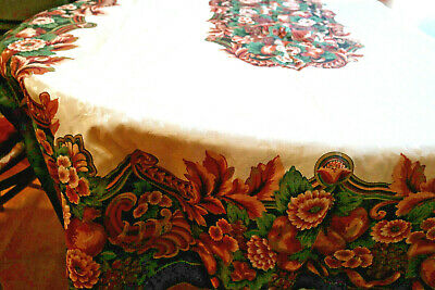 Vintage Fall Tablecloth Mums Fruits Nuts Jacquard Leaves