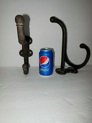 REDUCED!!!!  2 Antique Cast Iron Heavy Duty Wall Hooks for Barn Tack or Mud Room