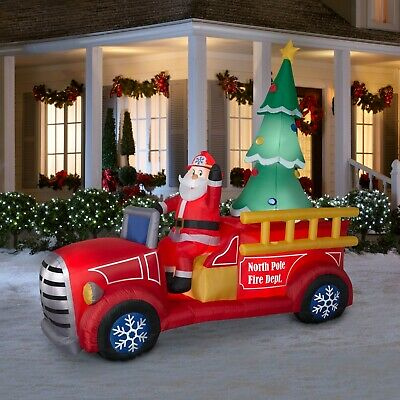 Gemmy Giant 9 Ft Santa's Fire Truck Airblown Christmas Inflatable