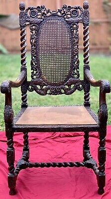 Charles Antique Carved Wood Victorian Chair Jacobean Barley Twist Oak Throne Arm
