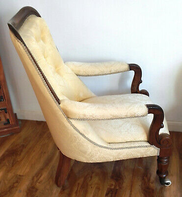 Victorian Armchair With Mahogony Frame. Early Victorian. VGC. Button Back.