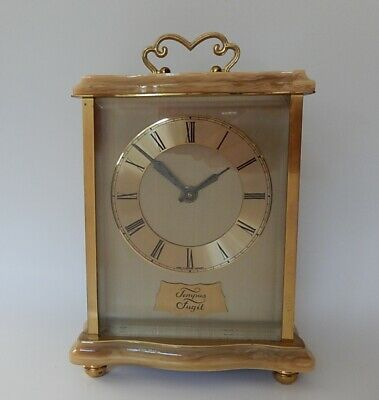 Superb Smiths Faux Marble & Brass  Mantel clock working 3011