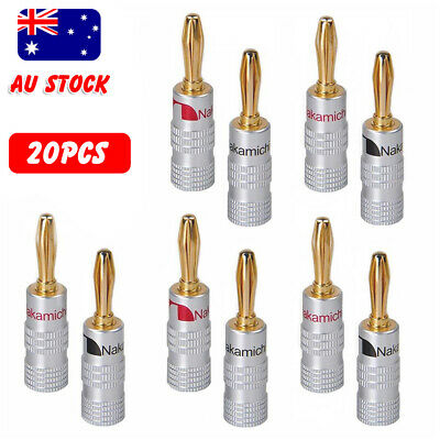 20X Nakamichi banana plugs 24K Gold Plated Speaker Cable Wire Connector 4mm