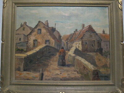 Vintage Oil On Masonite Painting Dutch Village C Ravesteyn 1946