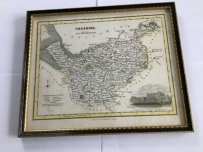 Framed Antique Map of CHESHIRE  (R.A.N. ORIGINAL) Published By Arch Fullarton.