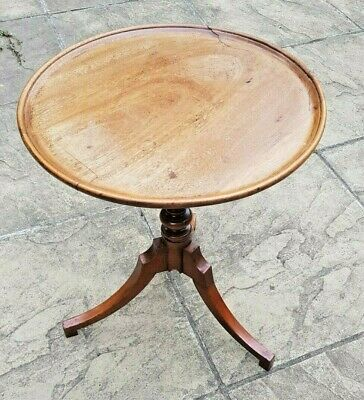 Victorian Antique Solid Mahogany Circular Pedestal Tripod Side Lamp / Table