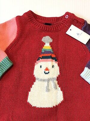 Baby Gap Girls SZ 3-6 MTH NWT Adorable Knit Dress Snowman Super Soft