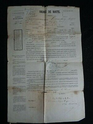 """Antique (1854) 19th Century French Ministry of War """"MARCHING ORDERS"""""""