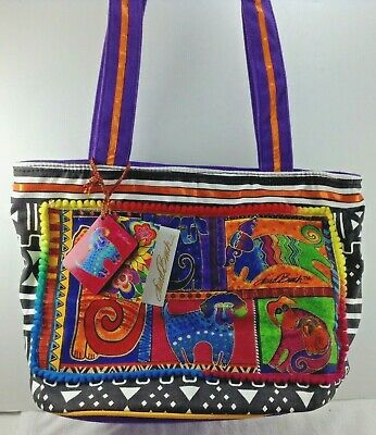 Laurel Burch Purse Canvas Tote w Tag LB5210 Dogs HandPainted with Charm