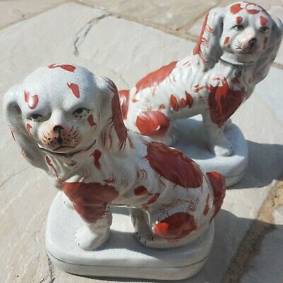 Large Pair Of Antique Staffordshire King Charles Spaniels ~ Fireside Dogs