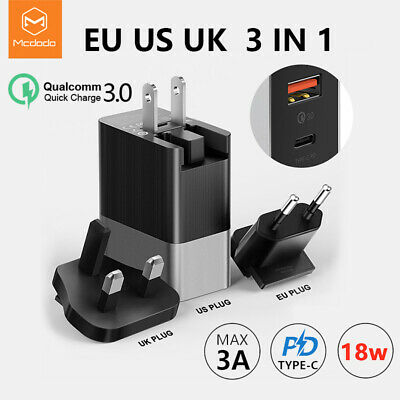Mcdodo 18W USB-C PD Fast Charging Universal Wall Travel Charger 3 in 1 EU US UK