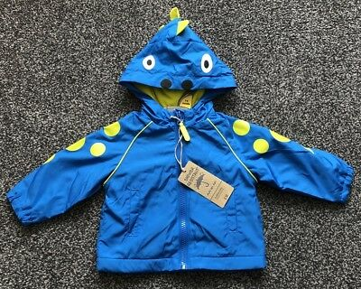 Mothercare Baby Boys Monster Blue Jacket Rain Coat With Hood Age 3 - 6 Month NEW