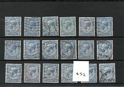 GB - GEORGE V (252) - 1912-36 definitive - 2.5d  x 18 copies - commercially used