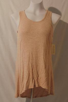 NEW Womens Tank Top Small Ladies Beige Sleeveless Shirt High Low Stretchy Soft